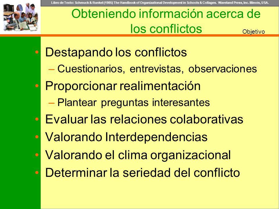 Obteniendo información acerca de los conflictos