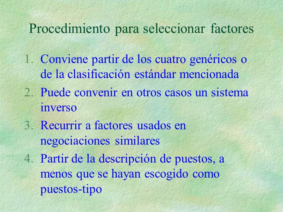 Procedimiento para seleccionar factores