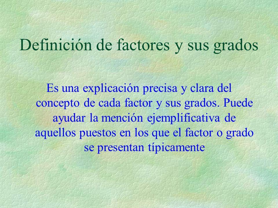 Definición de factores y sus grados