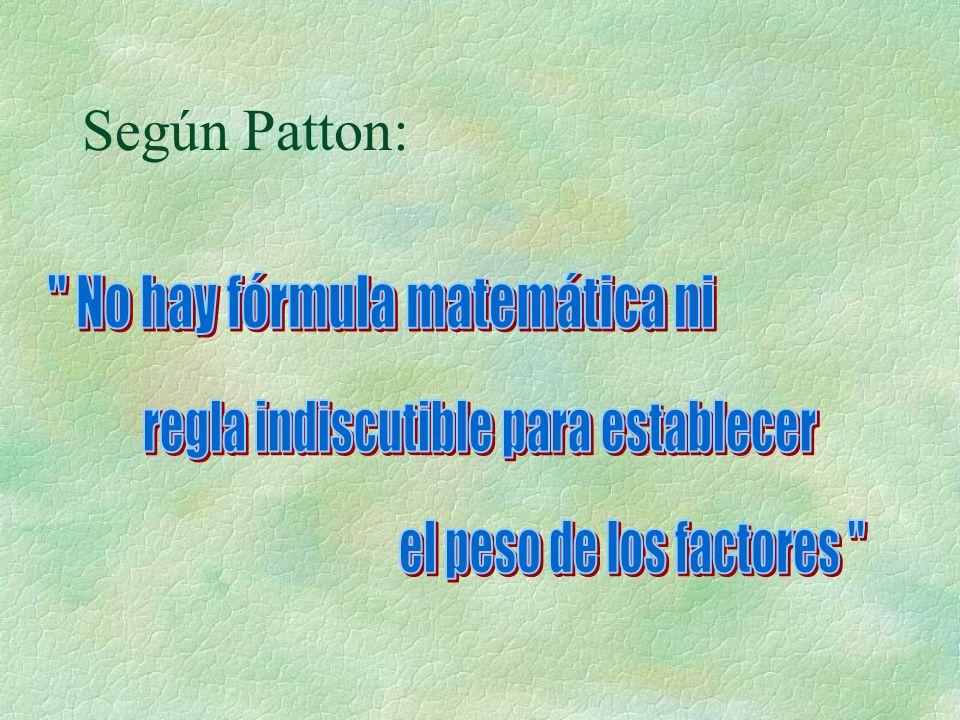 Según Patton: No hay fórmula matemática ni