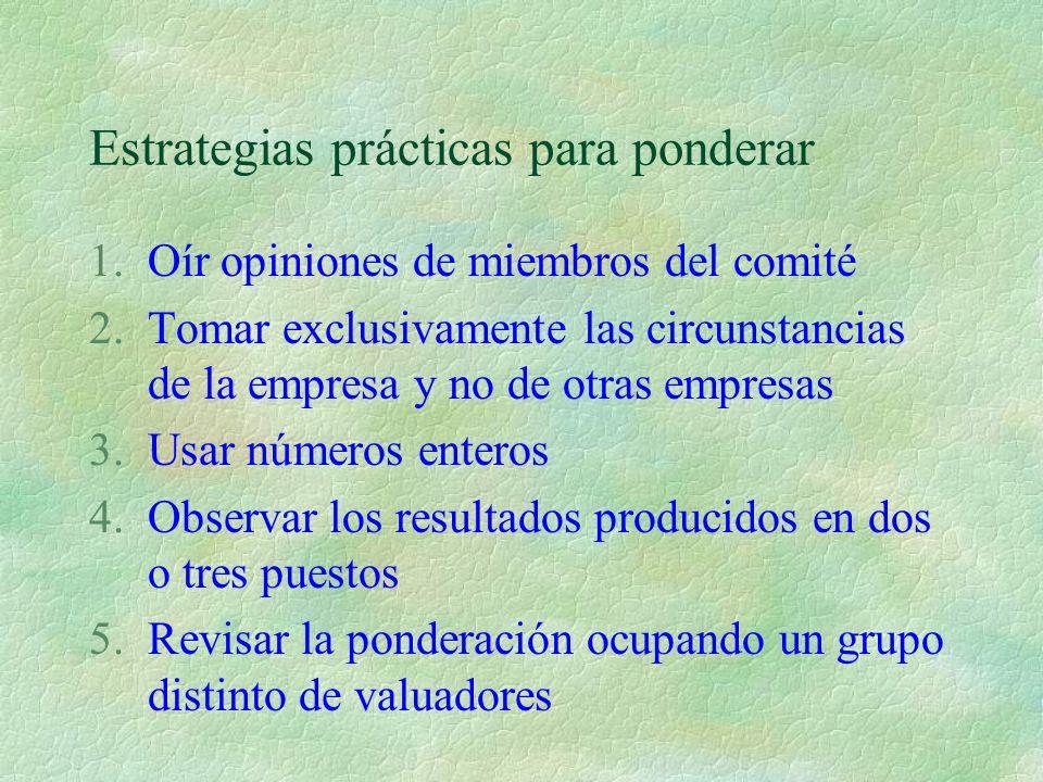 Estrategias prácticas para ponderar