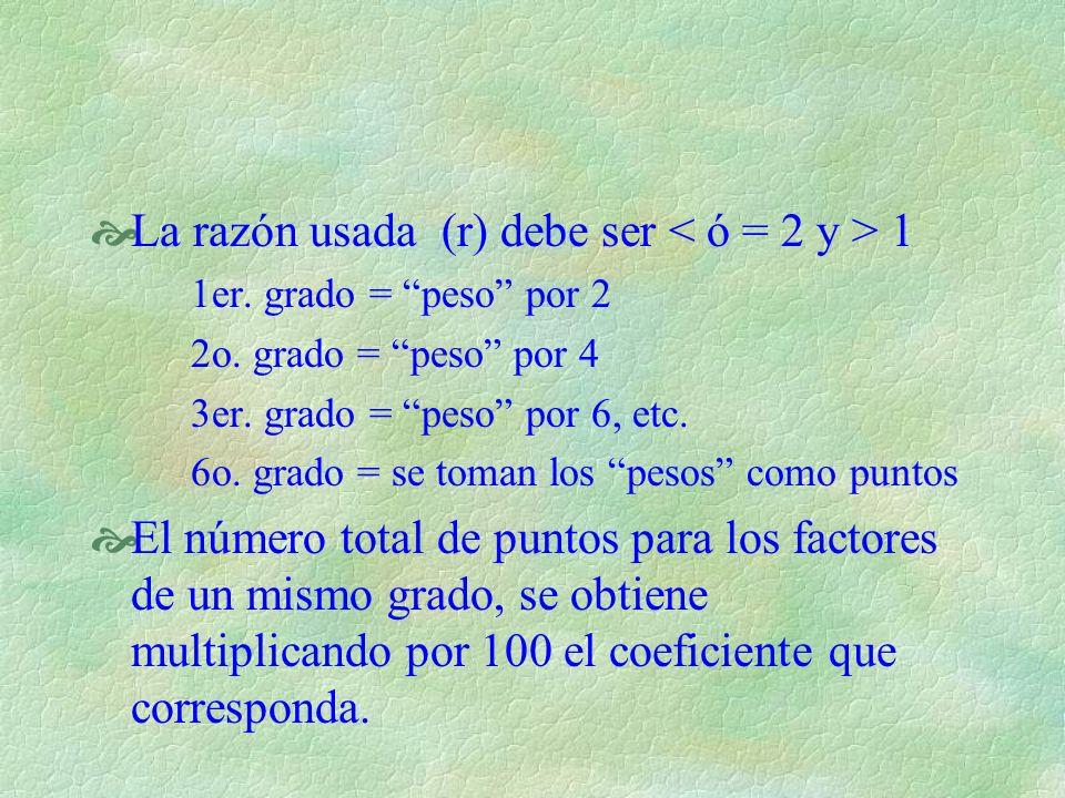 La razón usada (r) debe ser < ó = 2 y > 1