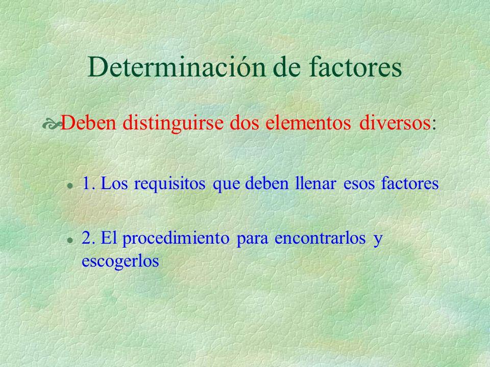 Determinación de factores