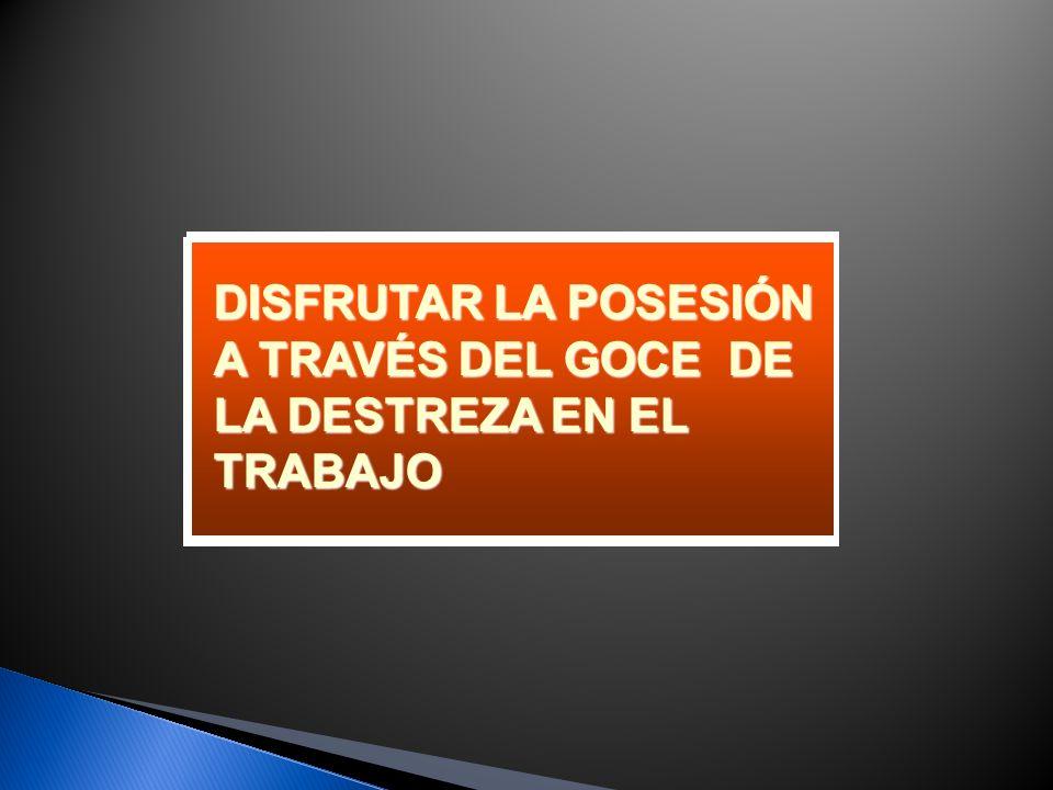 DISFRUTAR LA POSESIÓN A TRAVÉS DEL GOCE DE LA DESTREZA EN EL TRABAJO