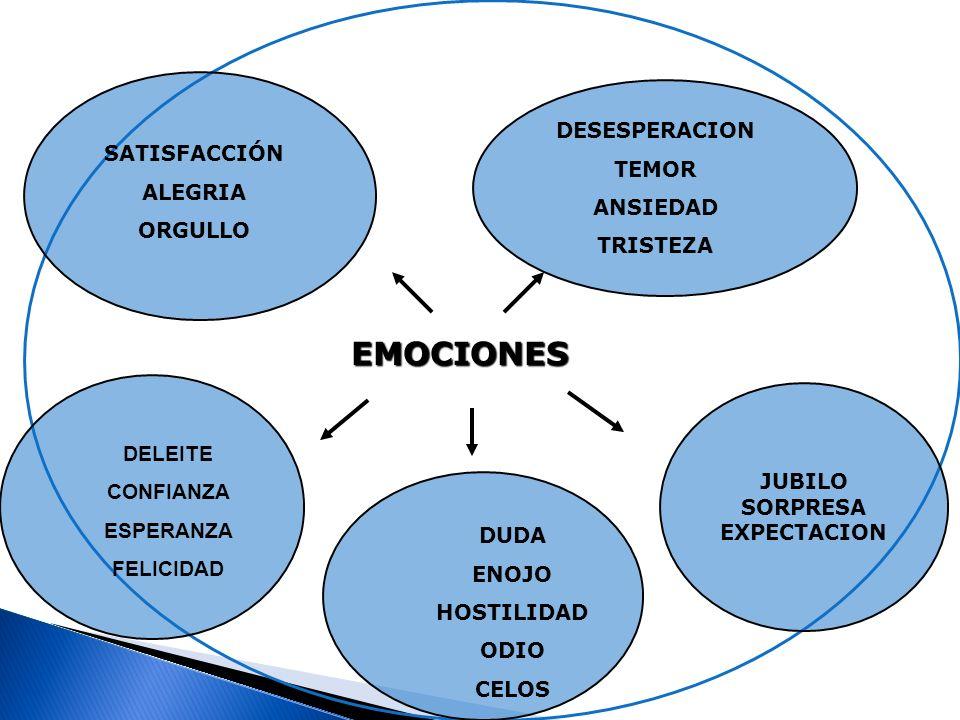 EMOCIONES DESESPERACION TEMOR SATISFACCIÓN ANSIEDAD ALEGRIA TRISTEZA