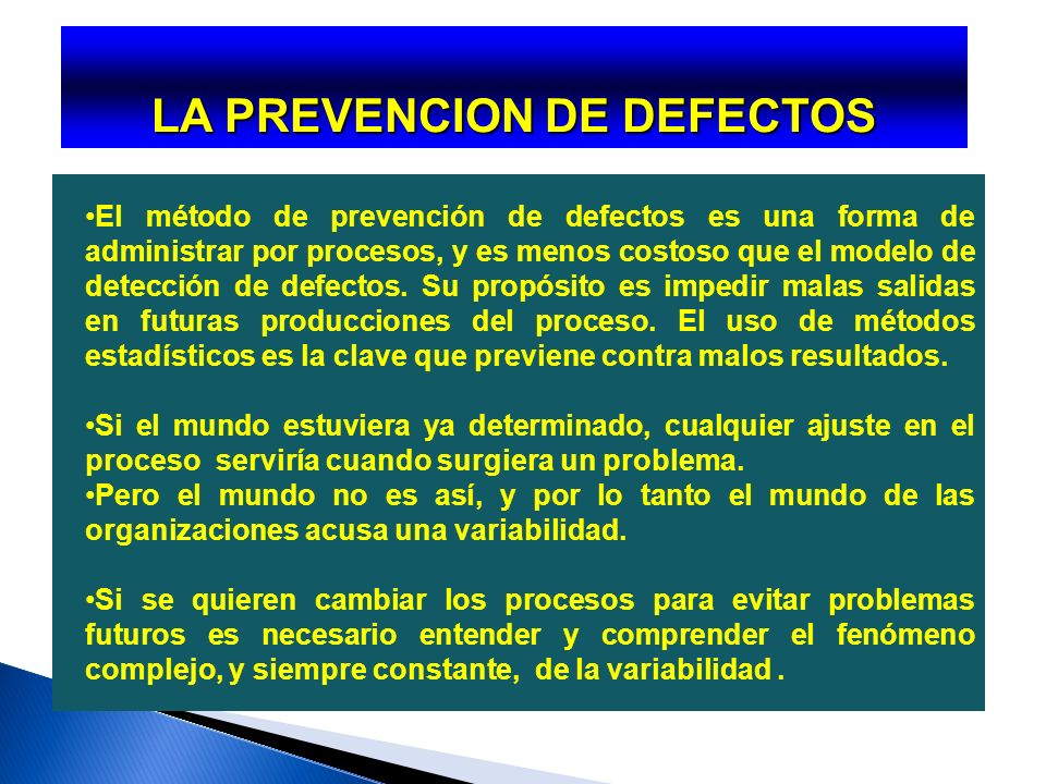 LA PREVENCION DE DEFECTOS