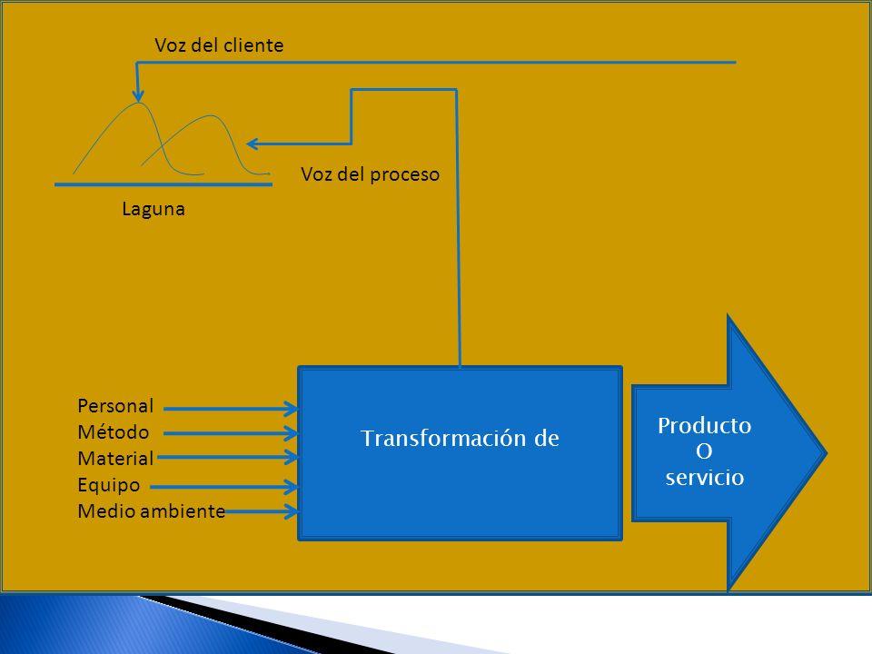 Voz del cliente Voz del proceso Laguna Producto O Personal servicio