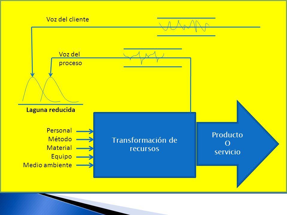 Voz del cliente Voz del proceso Laguna reducida Producto O Personal