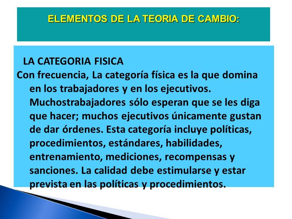 ELEMENTOS DE LA TEORIA DE CAMBIO: