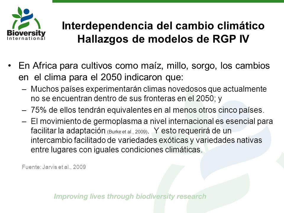 Interdependencia del cambio climático Hallazgos de modelos de RGP IV