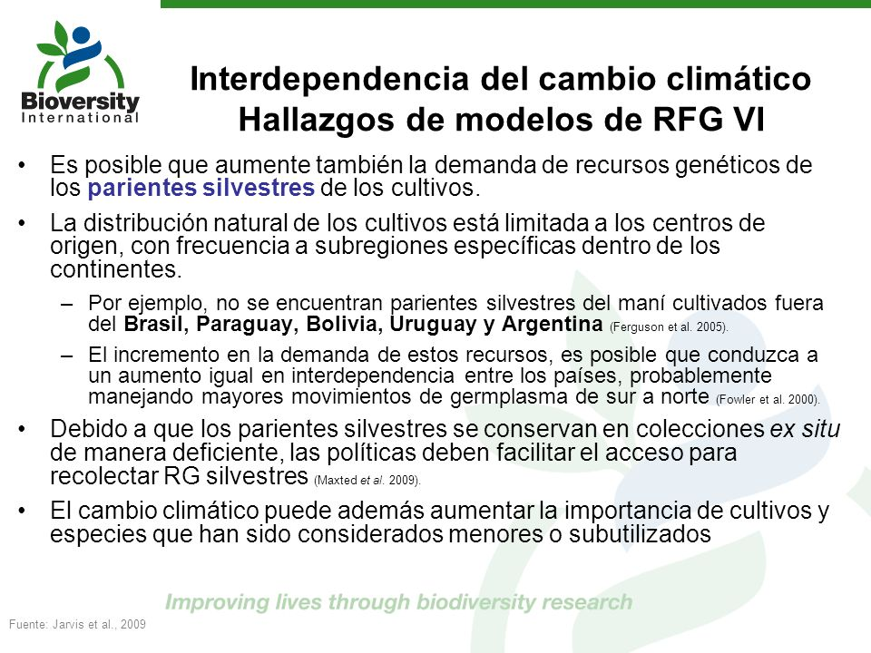 Interdependencia del cambio climático Hallazgos de modelos de RFG VI