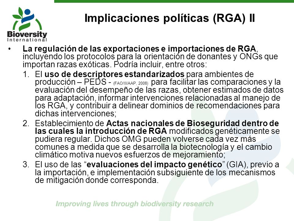 Implicaciones políticas (RGA) II