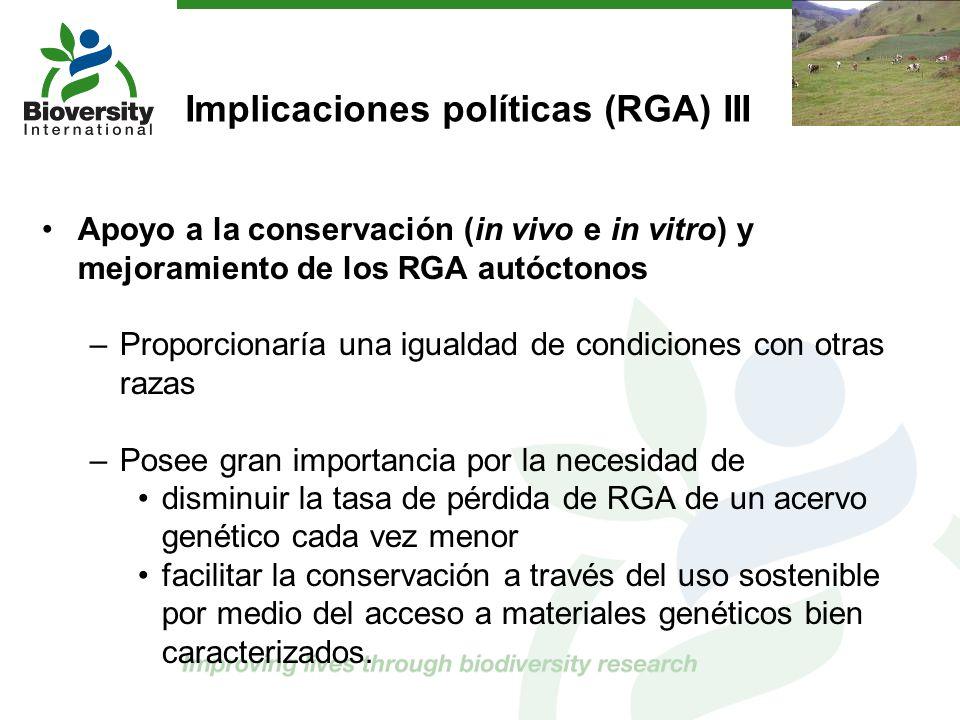 Implicaciones políticas (RGA) III