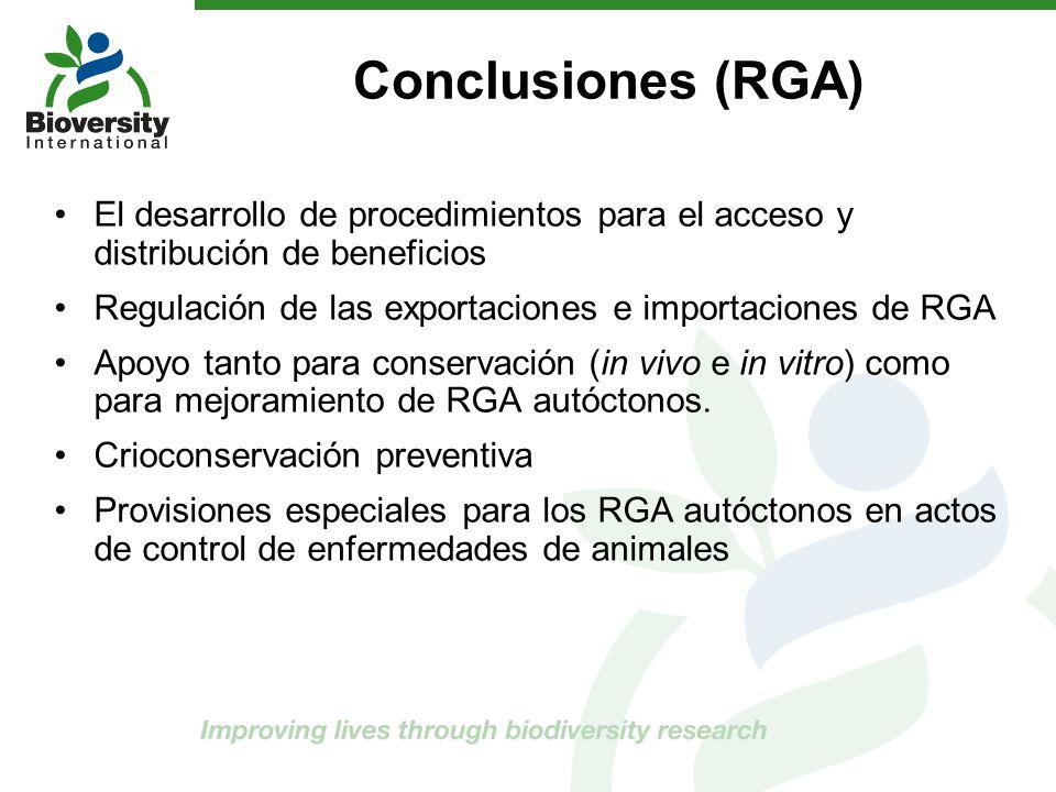 Conclusiones (RGA) El desarrollo de procedimientos para el acceso y distribución de beneficios.