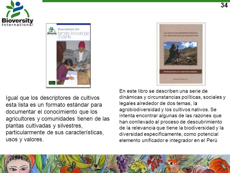 En este libro se describen una serie de dinámicas y circunstancias políticas, sociales y legales alrededor de dos temas, la agrobiodiversidad y los cultivos nativos. Se intenta encontrar algunas de las razones que han conllevado al proceso de descubrimiento de la relevancia que tiene la biodiversidad y la diversidad especificamente, como potencial elemento unificador e integrador en el Perú
