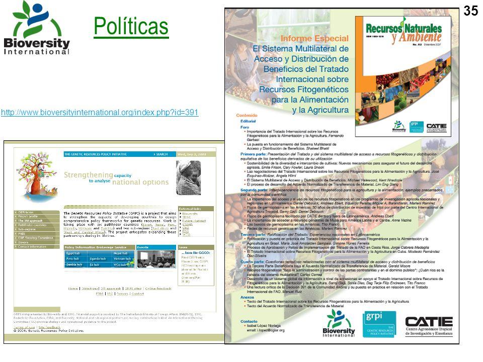 http://www.bioversityinternational.org/index.php id=391 Políticas
