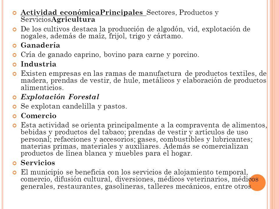 Actividad económicaPrincipales Sectores, Productos y ServiciosAgricultura
