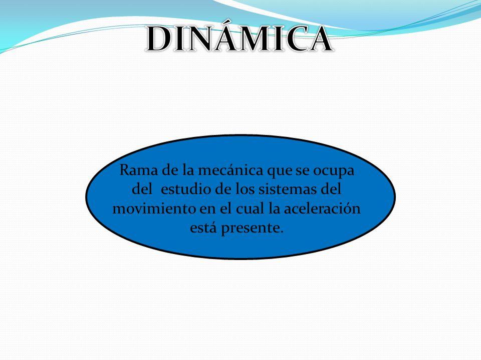 DINÁMICA Rama de la mecánica que se ocupa del estudio de los sistemas del movimiento en el cual la aceleración está presente.
