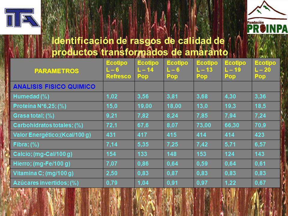 Identificación de rasgos de calidad de productos transformados de amaranto