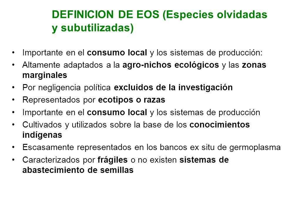 DEFINICION DE EOS (Especies olvidadas y subutilizadas)