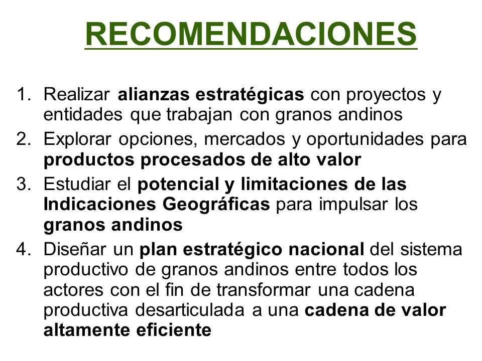 RECOMENDACIONES Realizar alianzas estratégicas con proyectos y entidades que trabajan con granos andinos.