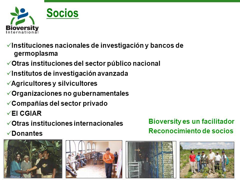 Socios Instituciones nacionales de investigación y bancos de germoplasma. Otras instituciones del sector público nacional.