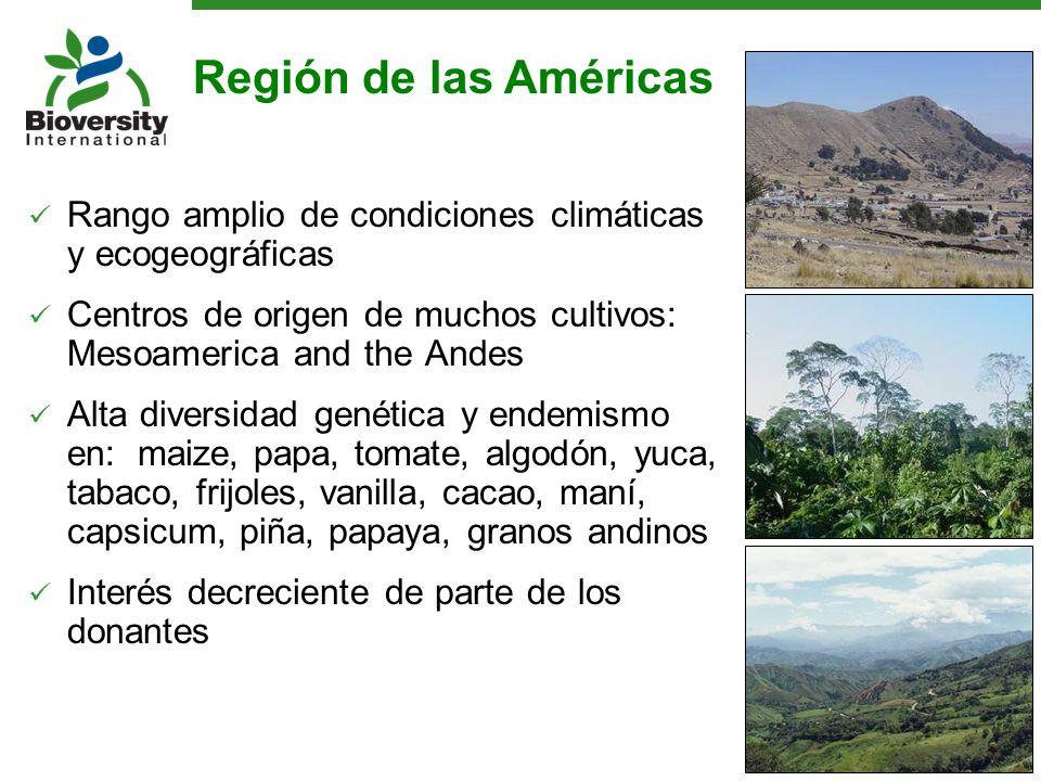 Región de las Américas Rango amplio de condiciones climáticas y ecogeográficas. Centros de origen de muchos cultivos: Mesoamerica and the Andes.