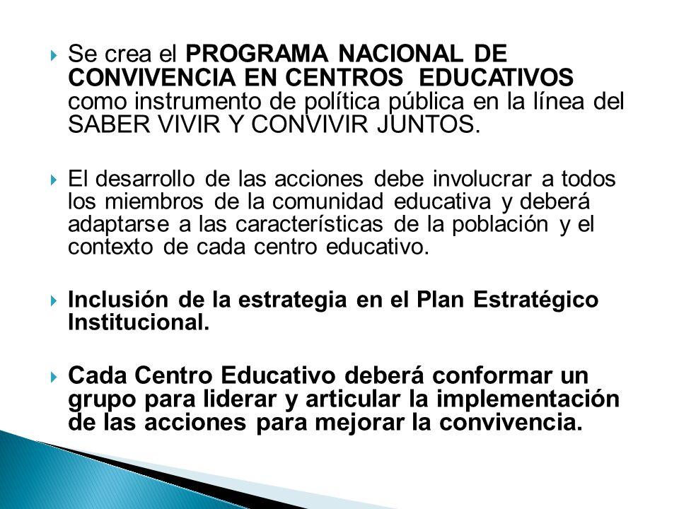 Se crea el PROGRAMA NACIONAL DE CONVIVENCIA EN CENTROS EDUCATIVOS como instrumento de política pública en la línea del SABER VIVIR Y CONVIVIR JUNTOS.