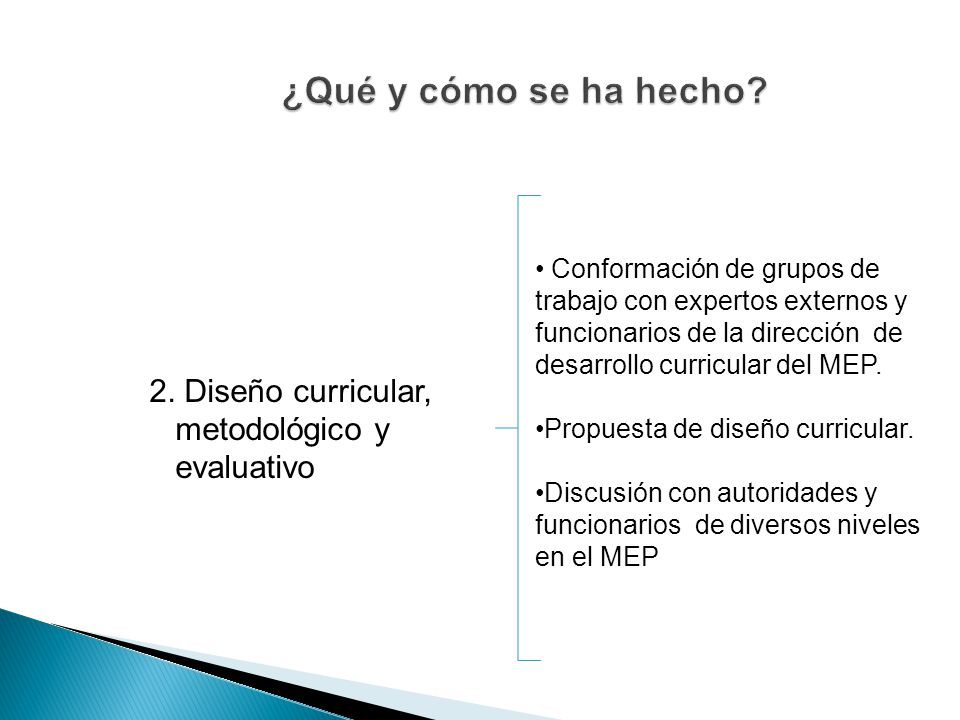 ¿Qué y cómo se ha hecho 2. Diseño curricular, metodológico y evaluativo.