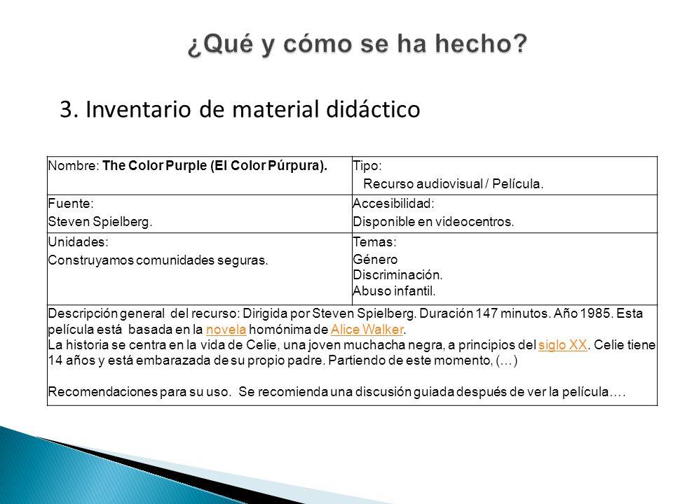 3. Inventario de material didáctico