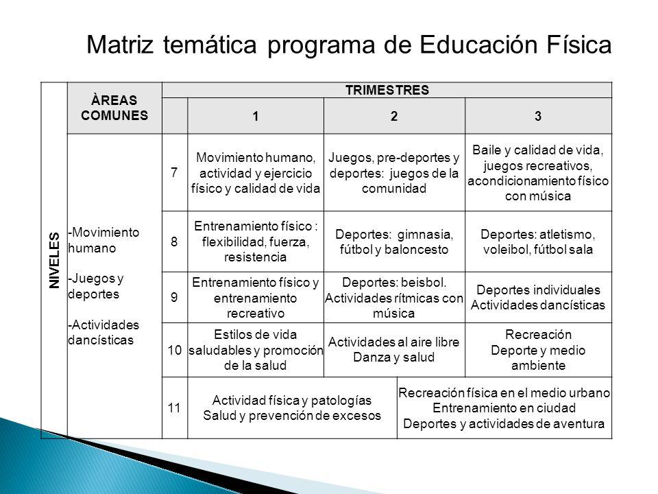 Matriz temática programa de Educación Física