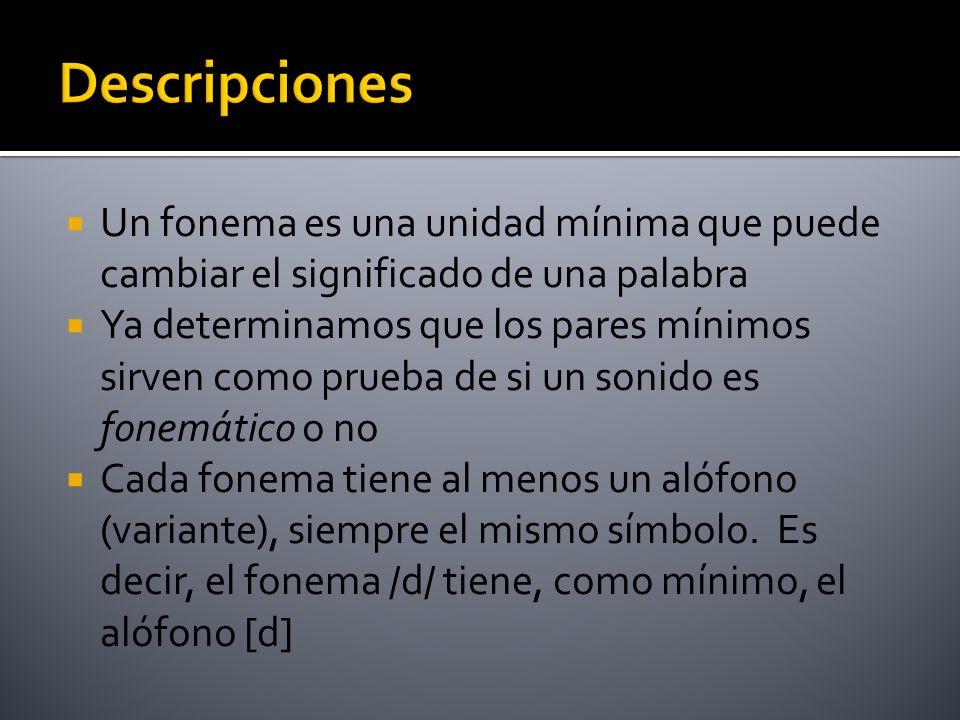Descripciones Un fonema es una unidad mínima que puede cambiar el significado de una palabra.