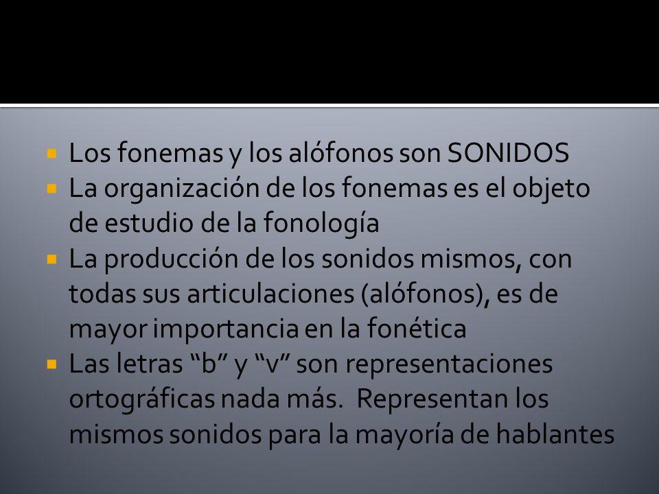 Los fonemas y los alófonos son SONIDOS