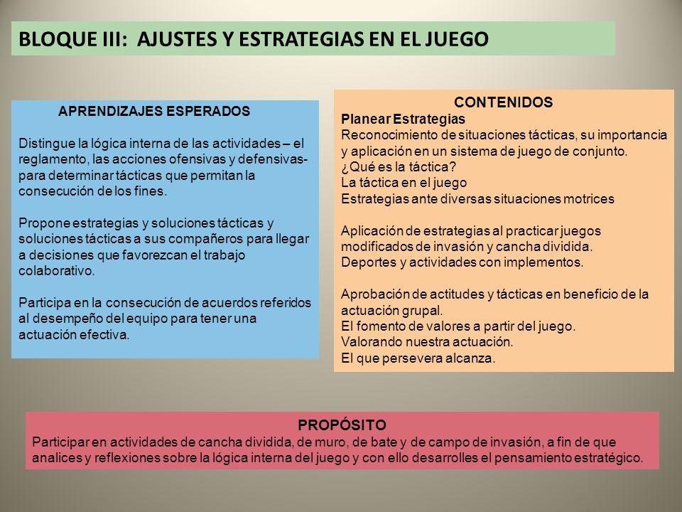 BLOQUE III: AJUSTES Y ESTRATEGIAS EN EL JUEGO