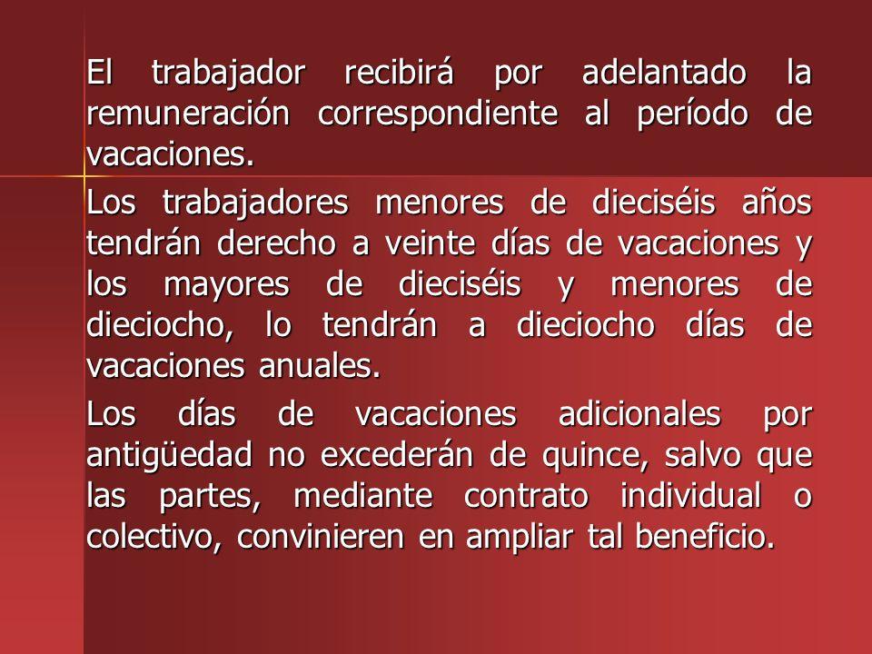 El trabajador recibirá por adelantado la remuneración correspondiente al período de vacaciones.