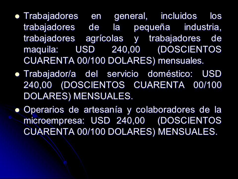 Trabajadores en general, incluidos los trabajadores de la pequeña industria, trabajadores agrícolas y trabajadores de maquila: USD 240,00 (DOSCIENTOS CUARENTA 00/100 DOLARES) mensuales.