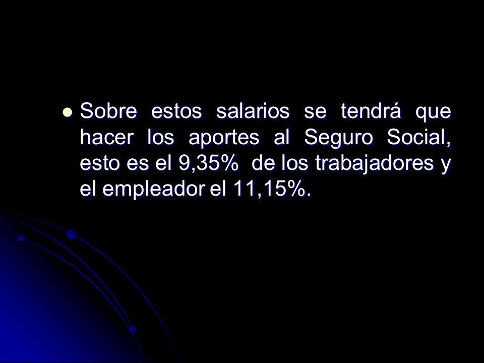 Sobre estos salarios se tendrá que hacer los aportes al Seguro Social, esto es el 9,35% de los trabajadores y el empleador el 11,15%.