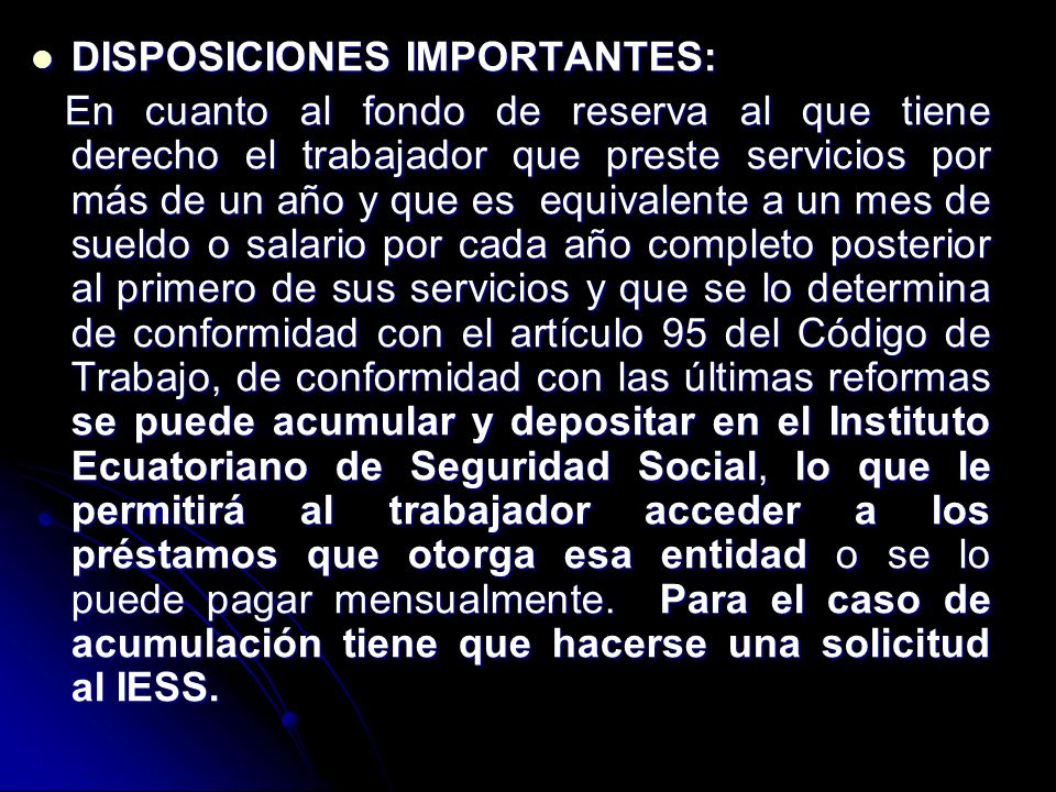 DISPOSICIONES IMPORTANTES: