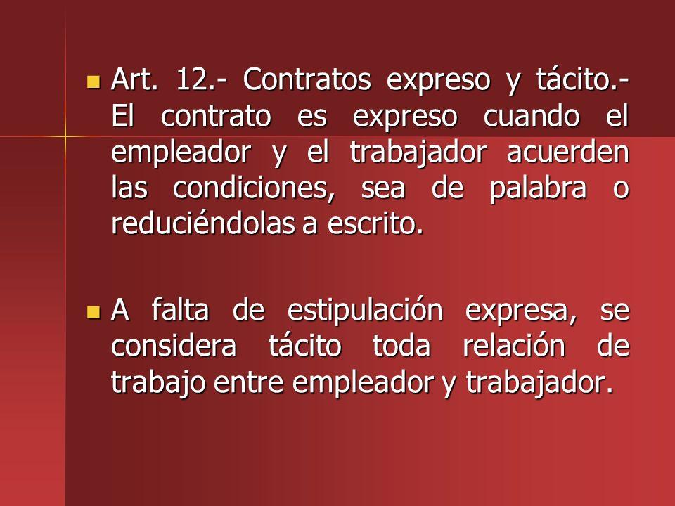 Art. 12. - Contratos expreso y tácito