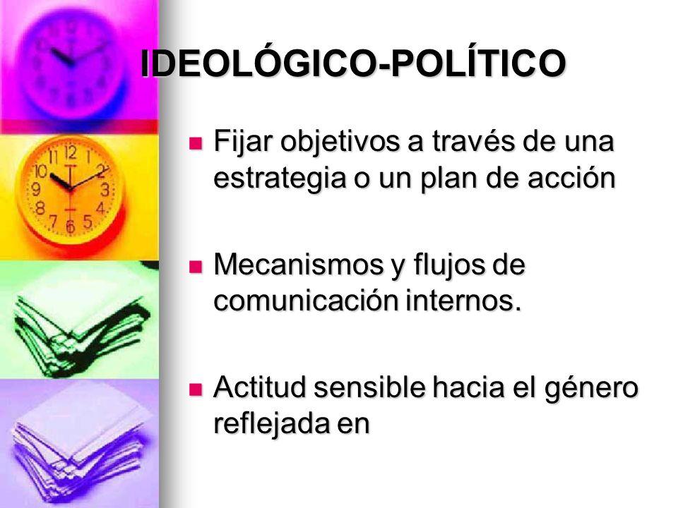 IDEOLÓGICO-POLÍTICO Fijar objetivos a través de una estrategia o un plan de acción. Mecanismos y flujos de comunicación internos.