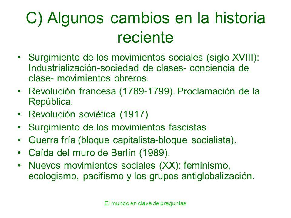 C) Algunos cambios en la historia reciente