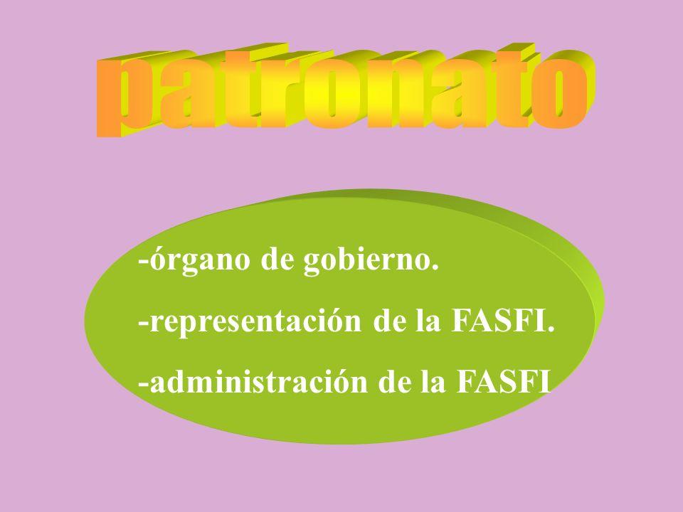 patronato -órgano de gobierno. -representación de la FASFI.