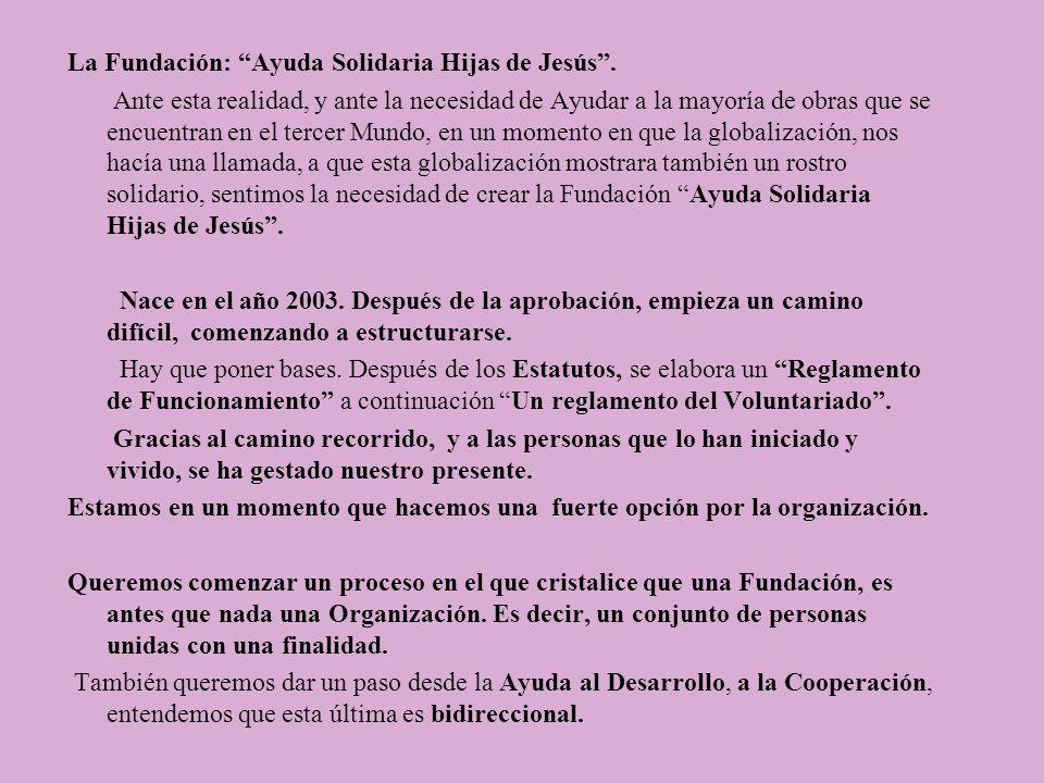 La Fundación: Ayuda Solidaria Hijas de Jesús