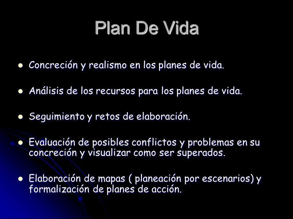Plan De Vida Concreción y realismo en los planes de vida.