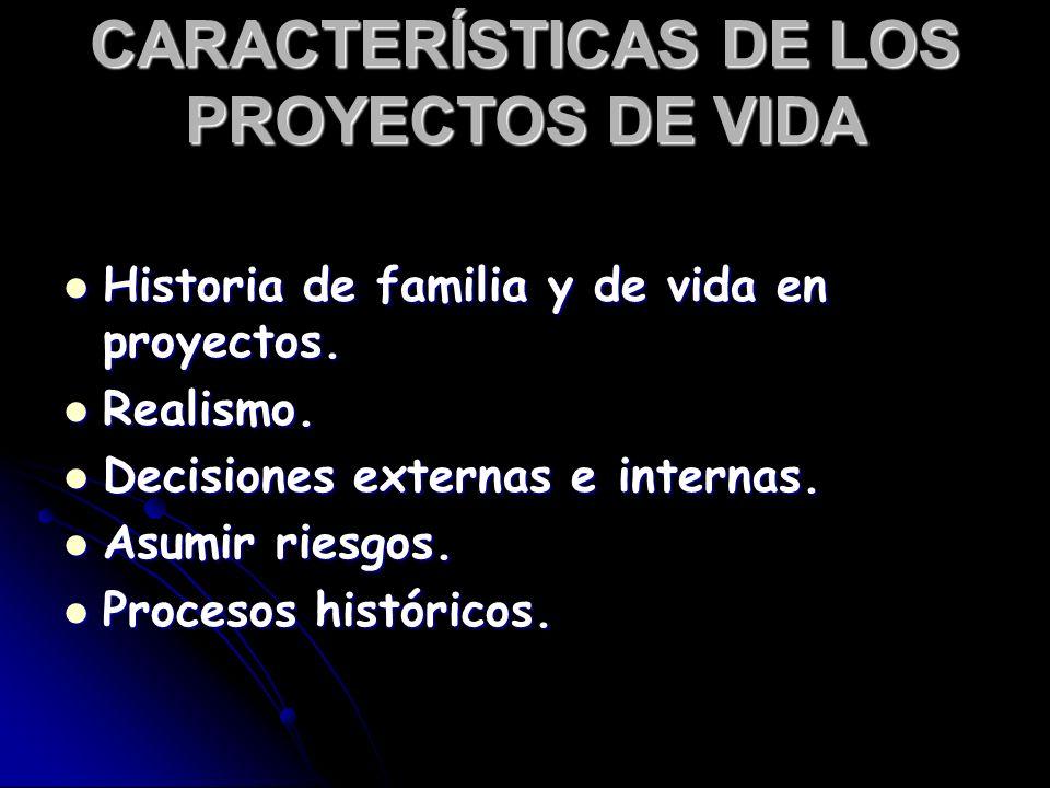 CARACTERÍSTICAS DE LOS PROYECTOS DE VIDA
