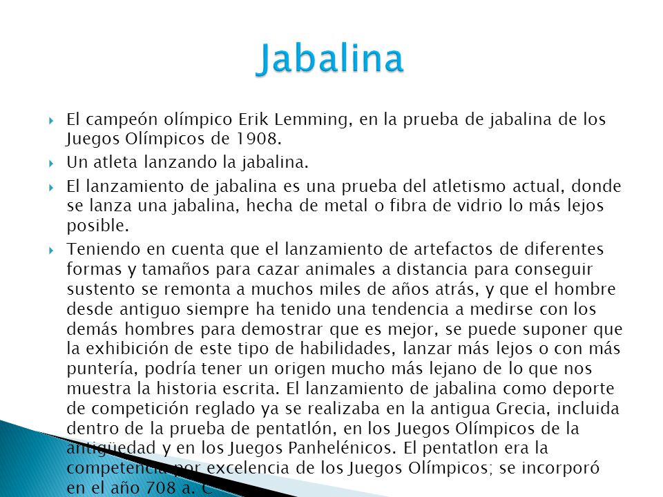 Jabalina El campeón olímpico Erik Lemming, en la prueba de jabalina de los Juegos Olímpicos de 1908.