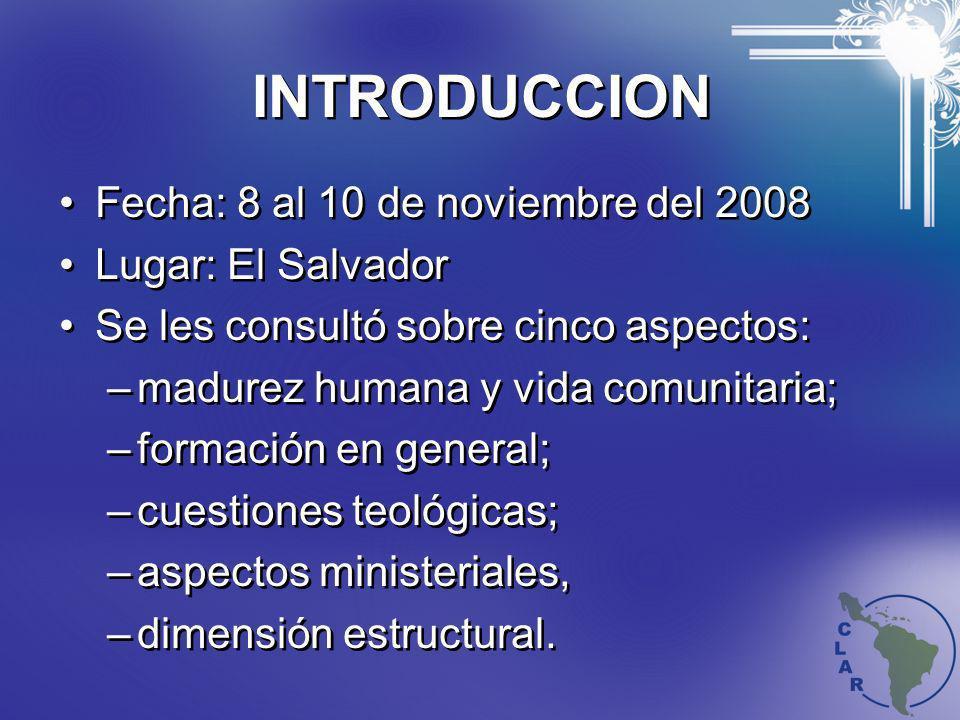 INTRODUCCION Fecha: 8 al 10 de noviembre del 2008 Lugar: El Salvador