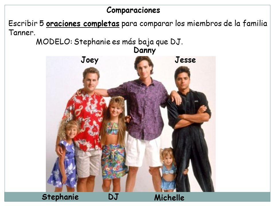 Comparaciones Escribir 5 oraciones completas para comparar los miembros de la familia. Tanner. MODELO: Stephanie es más baja que DJ.