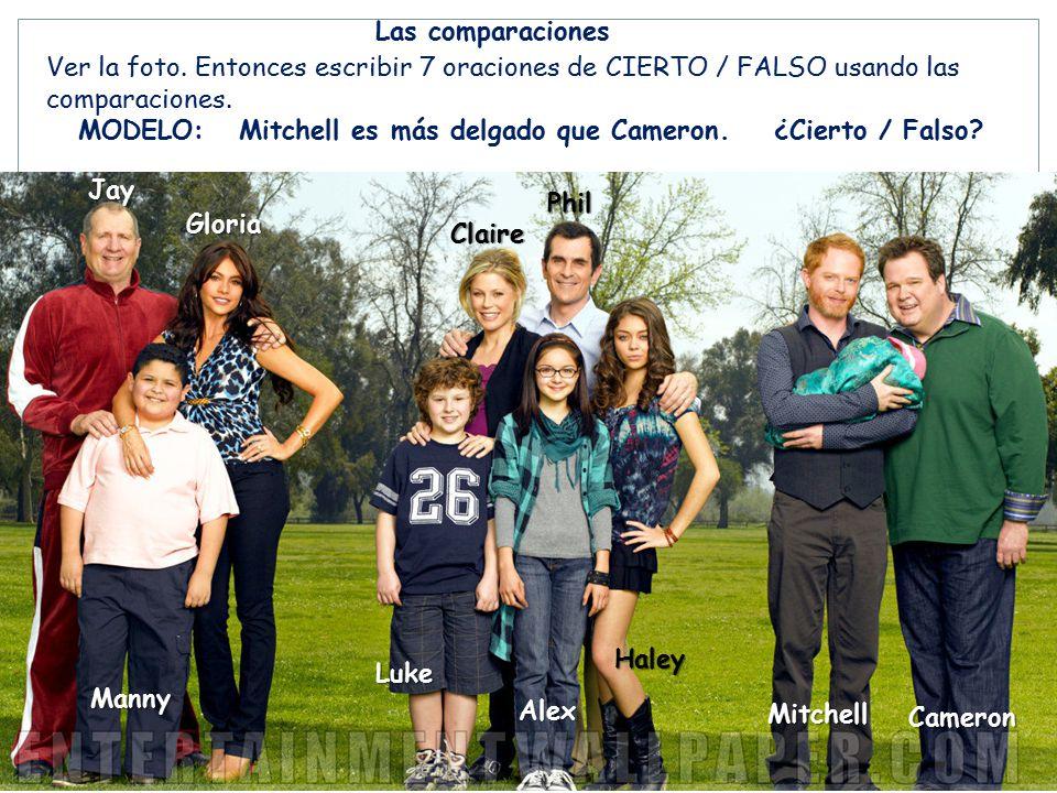 Las comparaciones Ver la foto. Entonces escribir 7 oraciones de CIERTO / FALSO usando las. comparaciones.