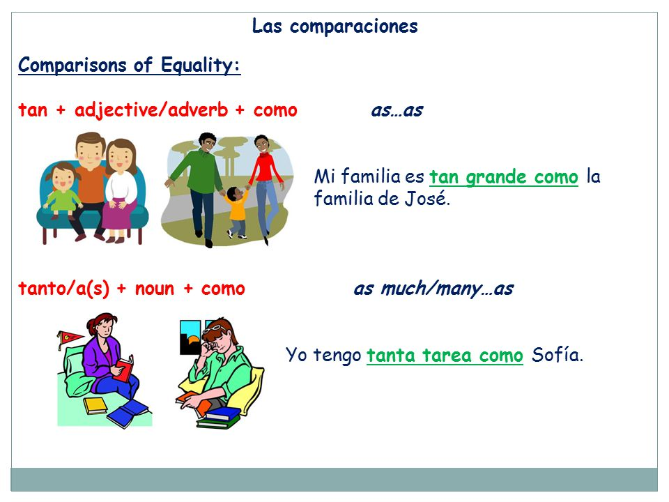 Las comparaciones Comparisons of Equality: tan + adjective/adverb + como as…as.